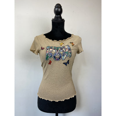 Gold Printed T-shirt by Moschino