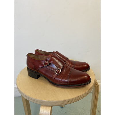 Burgundy Monkstrap Shoes by Lottusse