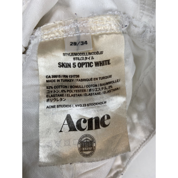 White Straight Leg Jeans by Acne