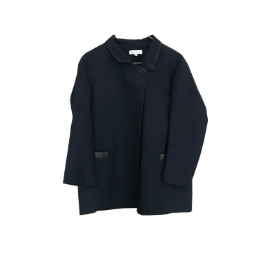Navy Cotton Jacket with Leather Details by Sandro