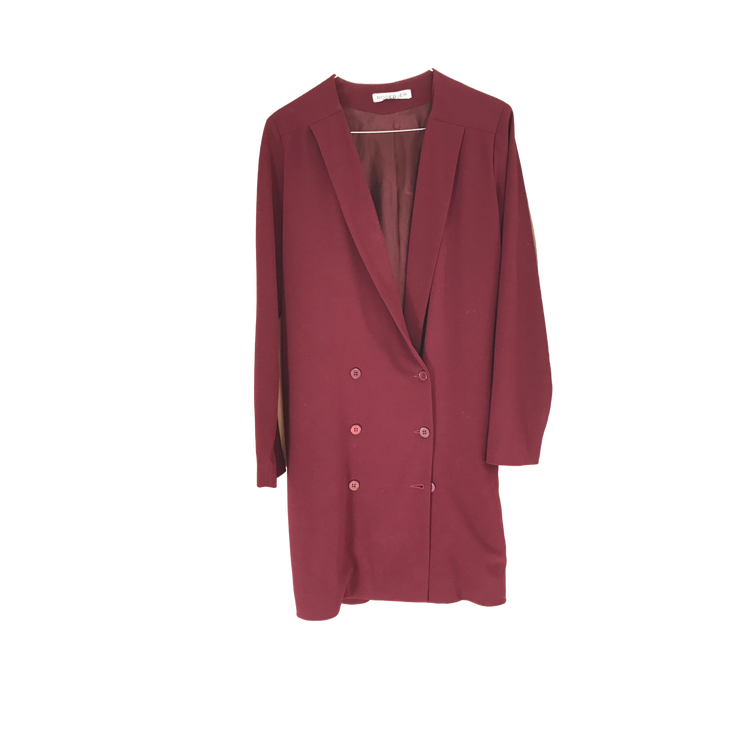 Burgundy Knee Long Blazer by Rodebjer
