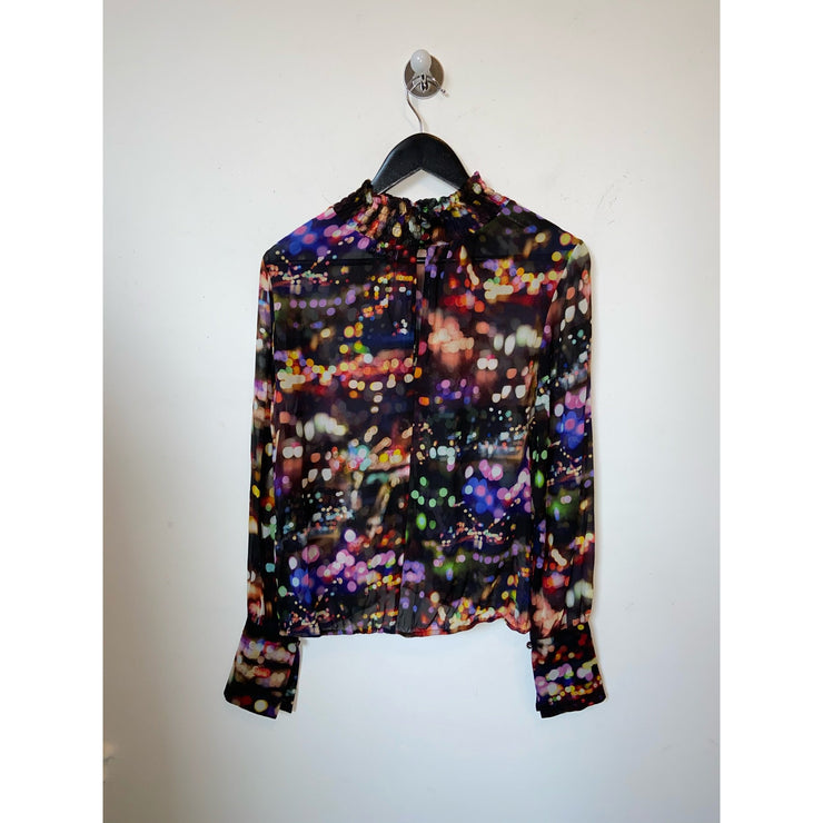 "Patterned Silk Blouse ""Nanette Night"" by Rodebjer"