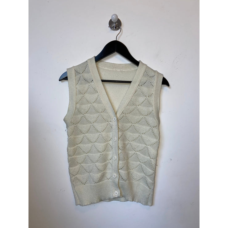 Off White Knit Vintage Vest