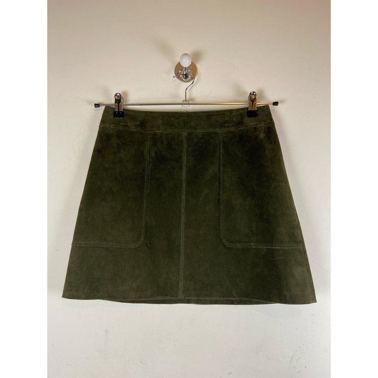 Olive Green Suede Skirt