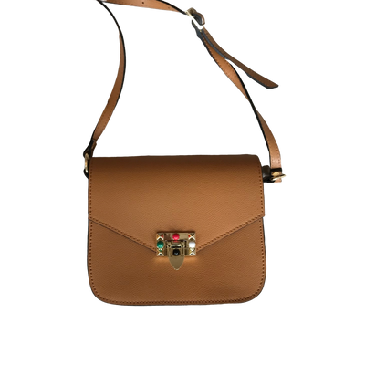 Teracotta Over Shoulder Bag with Gold and Colorful Details