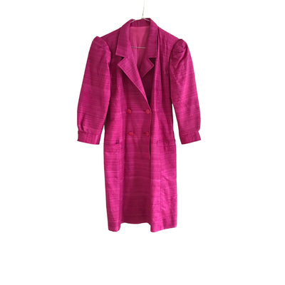 Fuchsia Vintage Dress With Puffy Shoulders