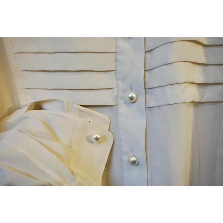 Vintage Silk Blouse with Pearl Buttons by Yves Saint Laurent
