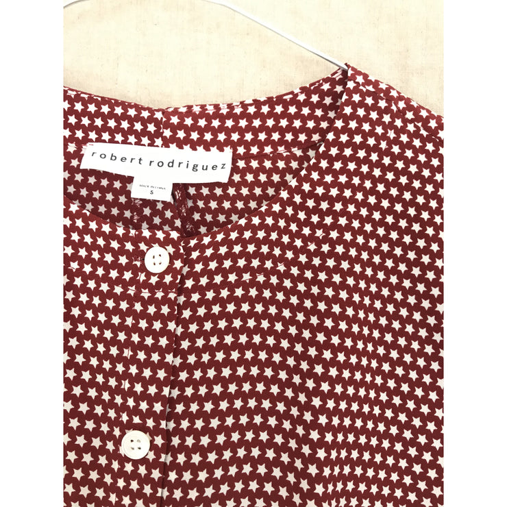 Burgundy Star Printed Silk Top by Robert Rodriguez