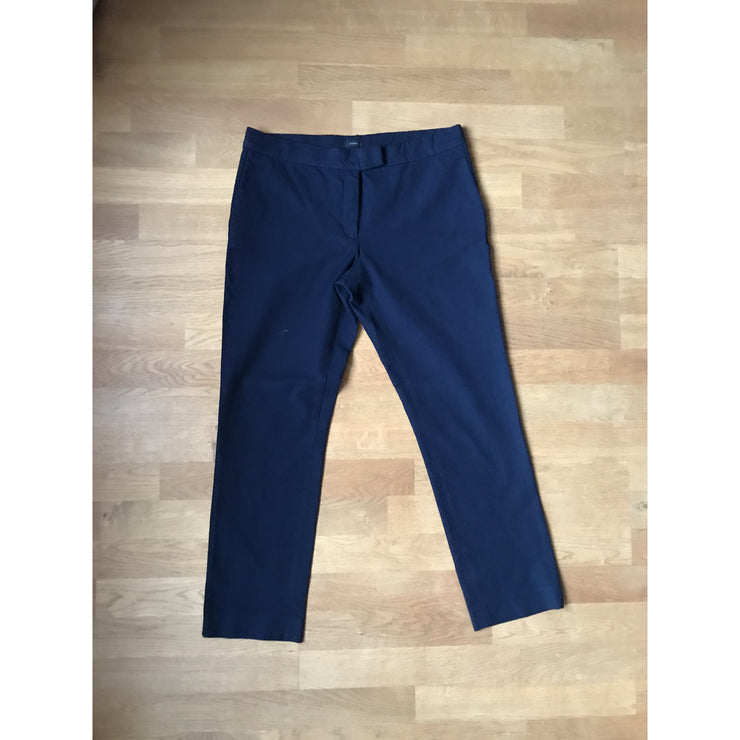 Navy Viscose/Cotton Cropped Pants by Joseph