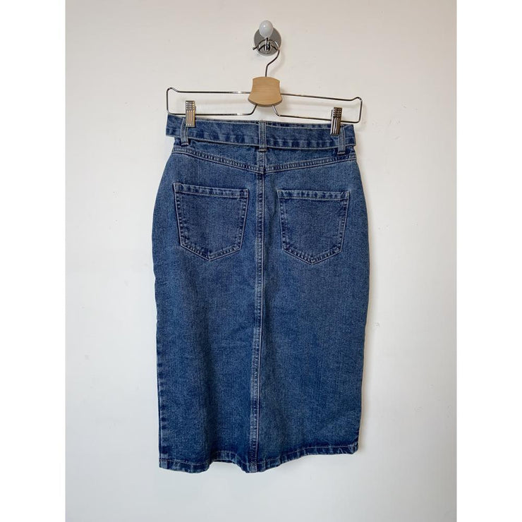 High-Waisted Jeans Skirt with Buttons
