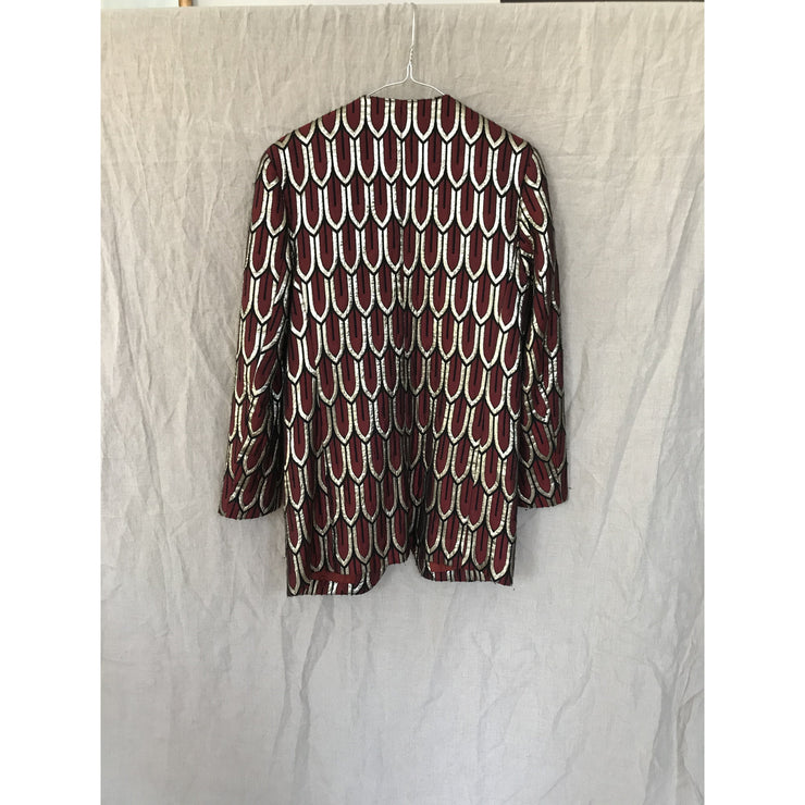 Oversized  Burgundy Silver Patterned Vintage Blazer