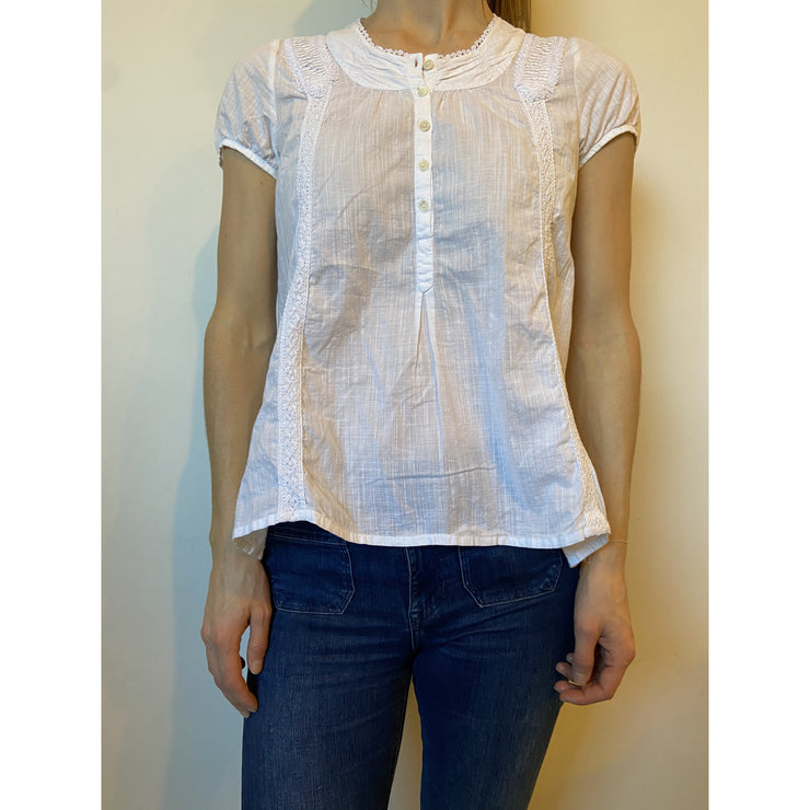 White Embroided top by Maje