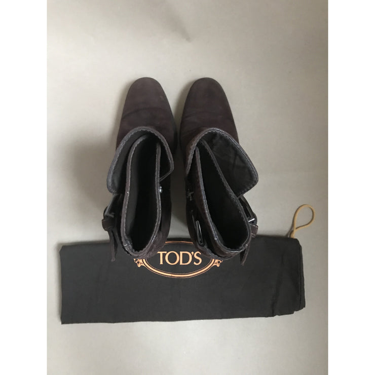 Dark Brown Suede Heeled Boots by Tods