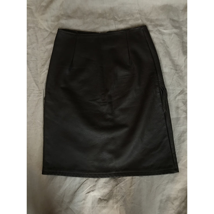 Brown Vintage Leather Skirt With Fringes