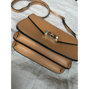Terracotta Over Shoulder Bag with Gold and Colorful Details