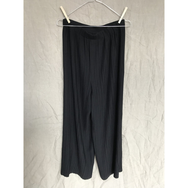 Black Pleated Wide Pants by Helmut Lang