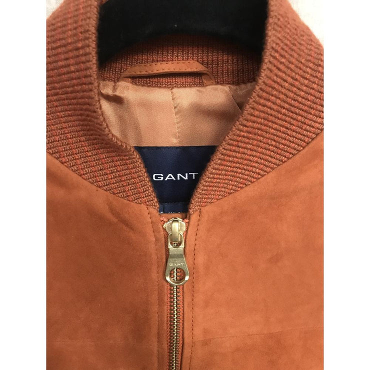 Brown Suede Bomber Jacket by Gant