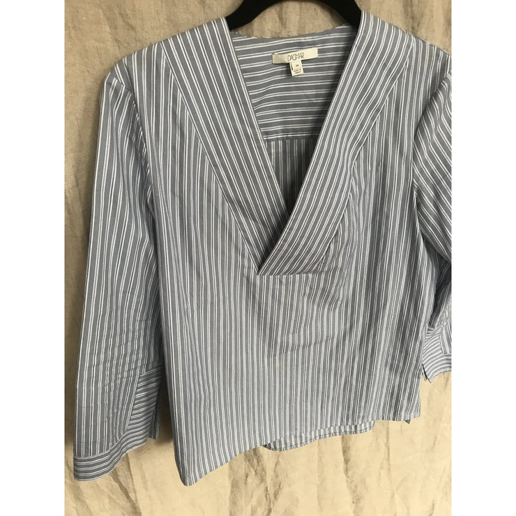 Striped V-neck Blouse by Dagmar