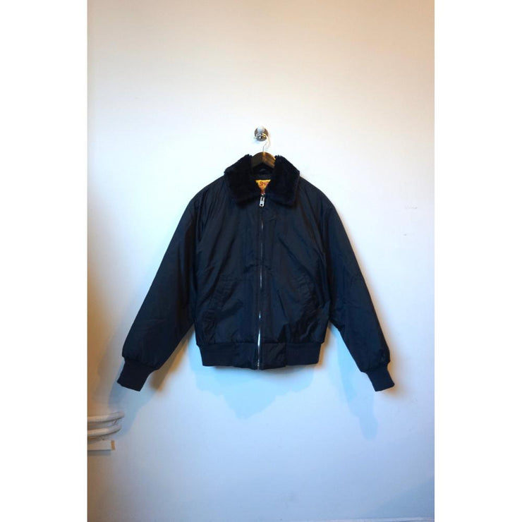 Navy Vintage Jacket with Teddy Collar