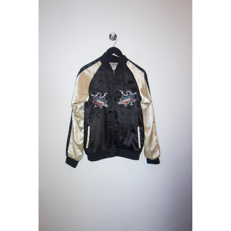 Shiny Varsity Jacket with Dragon Print