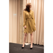 Smocked Silk Dress Light Khaki-Brown by Chloé