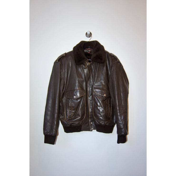 Vintage Brown Leather Jacket With Teddy Collar