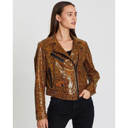 """Mercy Snake- Embossed"" Leather Jacket by Notes du Nord"