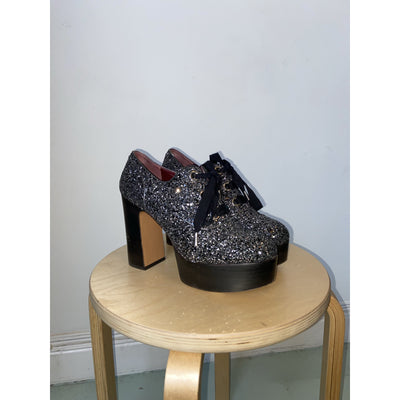 Black+Silver Glitter Platform Shoes by Marc Jacobs