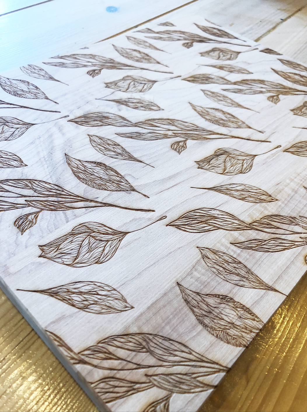 Botanical Leaf Pattern Handmade Cutting Board