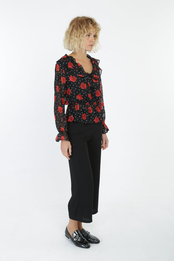 Rose Print Black Chiffon Blouse