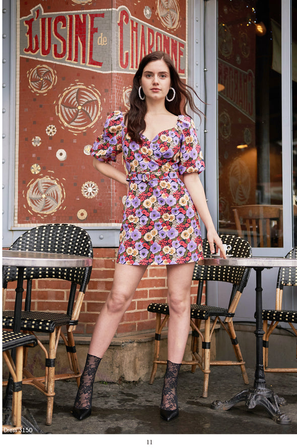 Daphnea Multi Floral Print Belted Dress