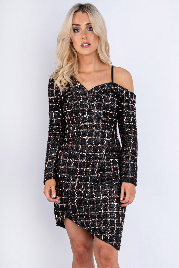 Sequin Cold Shoulder Mini Dress Champagne