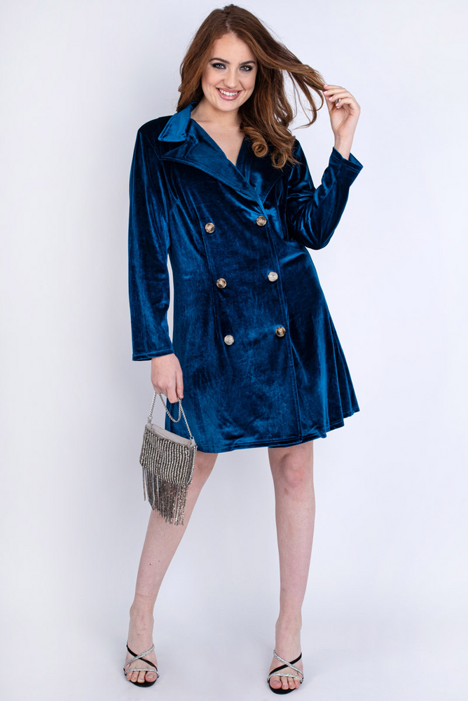 Blue Velvet Blazer Dress Plus Blue
