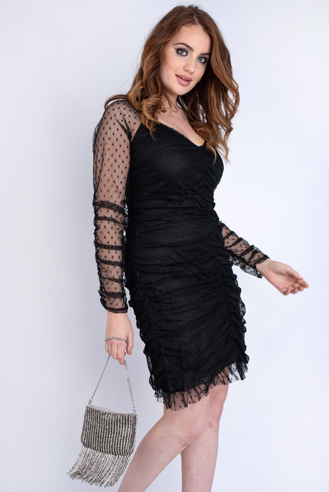 Sheer Dot Ruched Dress Plus Black