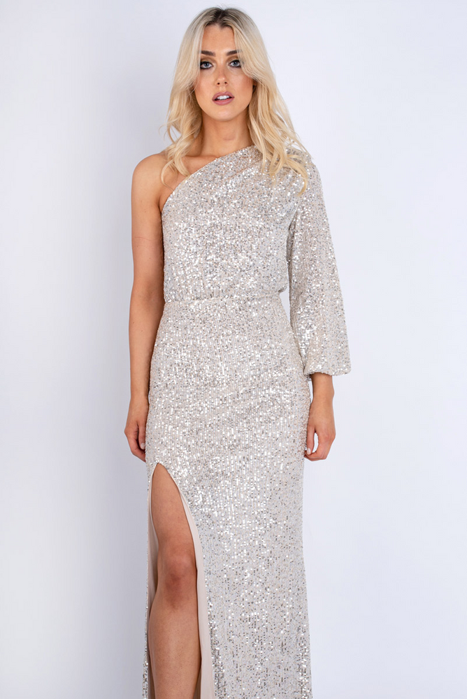 One-shoulder Sequin Maxi Dress Silver