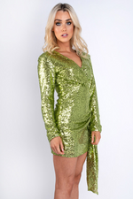 Green Sequin Long Sleeve Dress Green