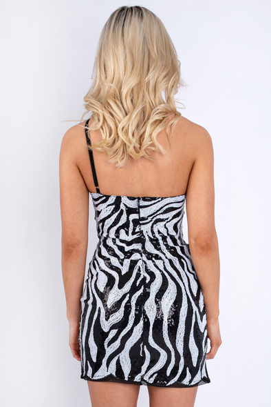 Asymmetric Sequin Zebra Dress Black