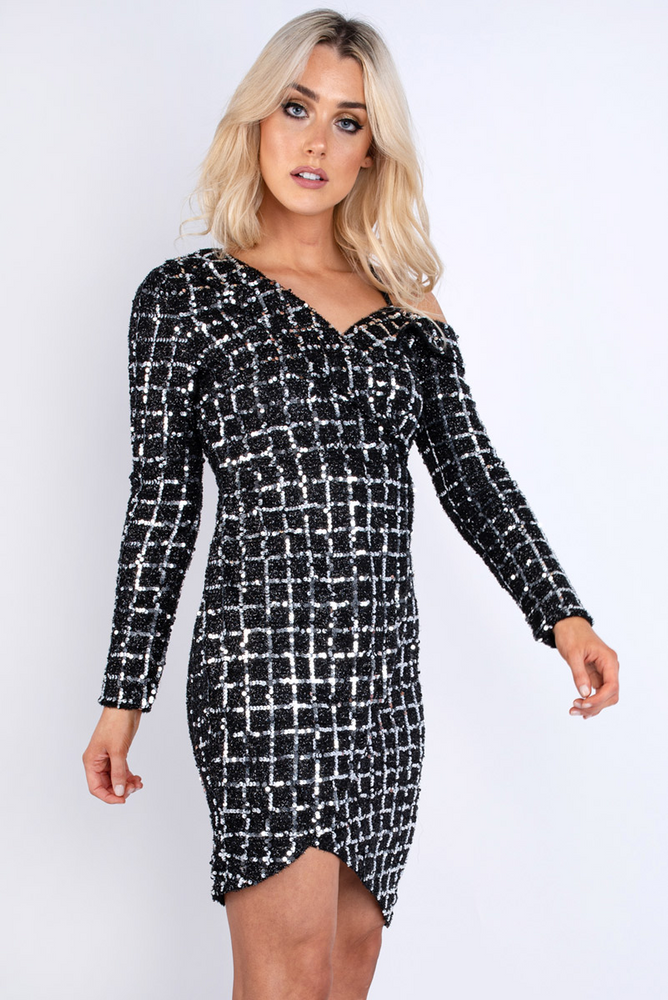 Sequin Cold Shoulder Mini Dress Silver