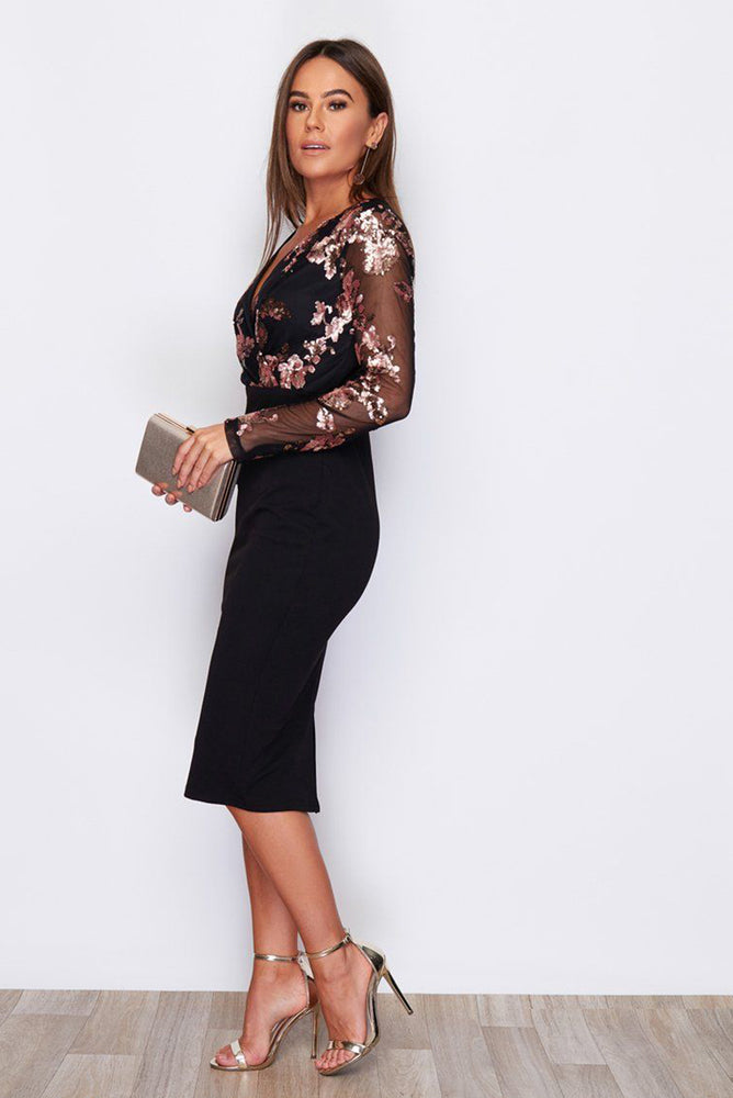 Rose Gold Black Sequin Dress Black D048125
