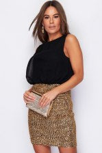 Black and Gold Bodycon Dress Black & Gold