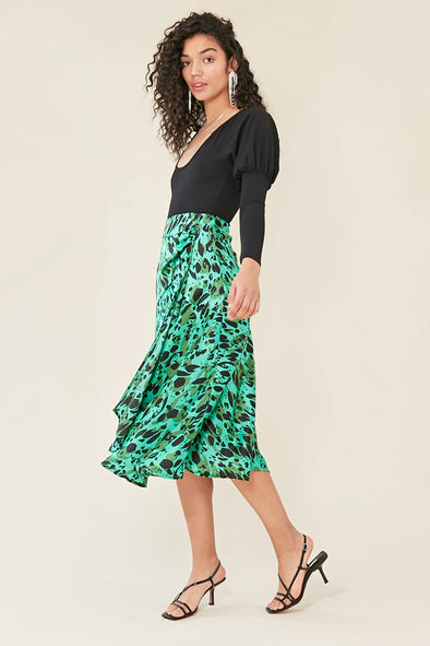 Green Animal Print Midi Skirt Green