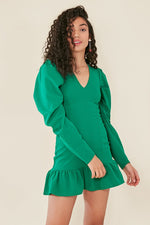 Green Plunge Neck Frill Hem Mini Dress Green