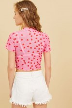Heart Print Sheer Crop Tee