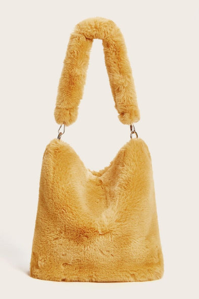 yellow fur shoulder bag