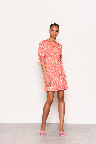 Stephie Pink Yellow Heart Print Dress