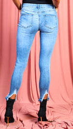 Lorna Light Blue Extreme Distressed Hem Skinny Jeans