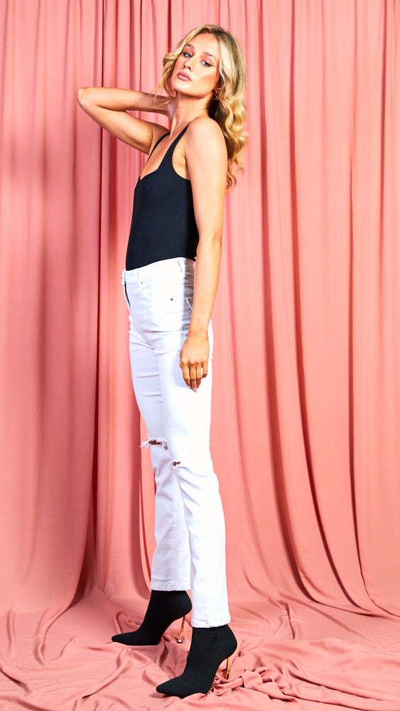 Layla White Jeans with Knee Rips