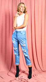 Laura Ripped Turn Up Hem Boyfriend Jeans