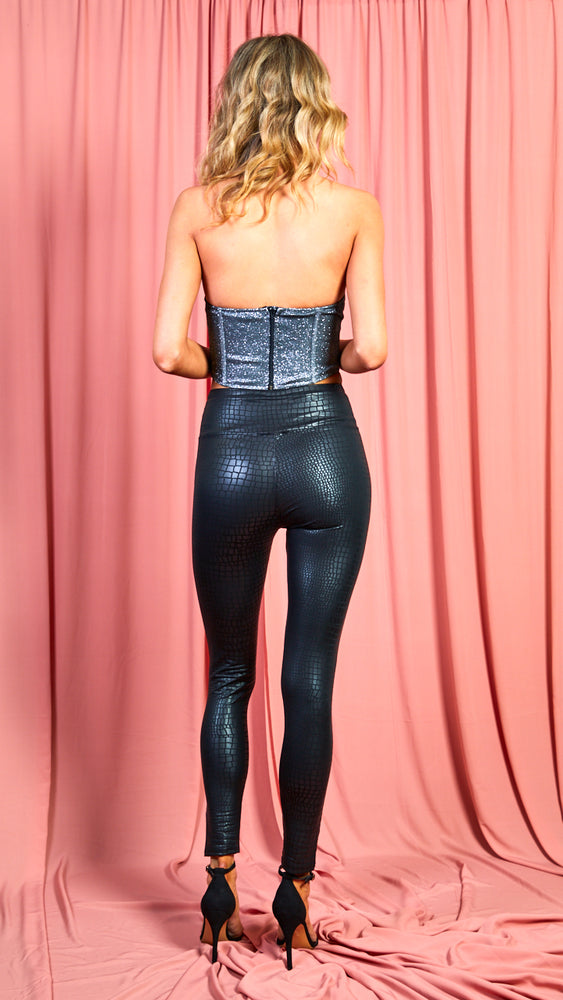 Grey Sparkly Corset Crop Top