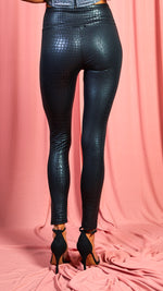 Siena Black Croc Print Leggings